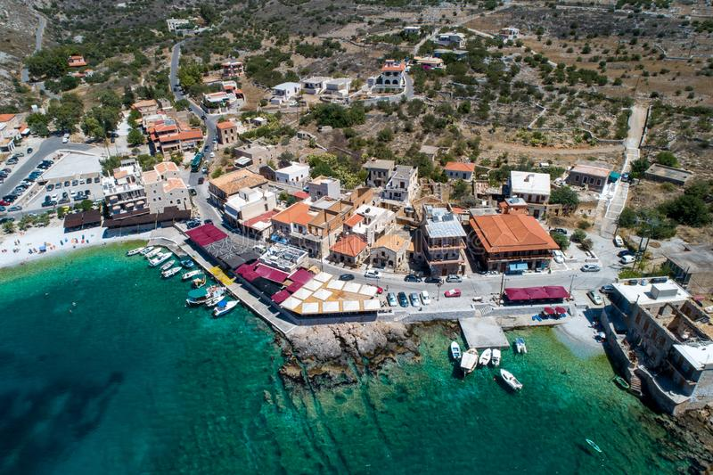 Aerial view of Gerolimenas in Laconia, is one of the most picturesque settlements of Mani with a small natural harbor. Peloponnese, Greece stock photos