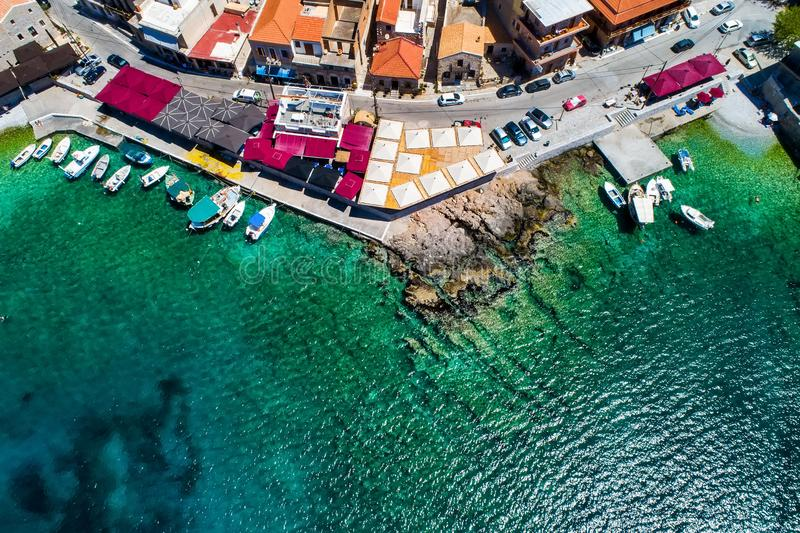 Aerial view of Gerolimenas in Laconia, is one of the most picturesque settlements of Mani with a small natural harbor. Peloponnese, Greece royalty free stock images