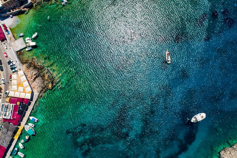 Aerial view of Gerolimenas in Laconia, is one of the most picturesque settlements of Mani with a small natural harbor. Peloponnese, Greece royalty free stock photography