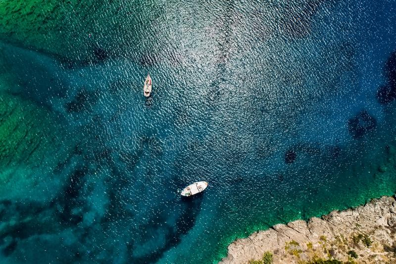 Aerial view of Gerolimenas in Laconia, is one of the most picturesque settlements of Mani with a small natural harbor. Peloponnese, Greece stock photography