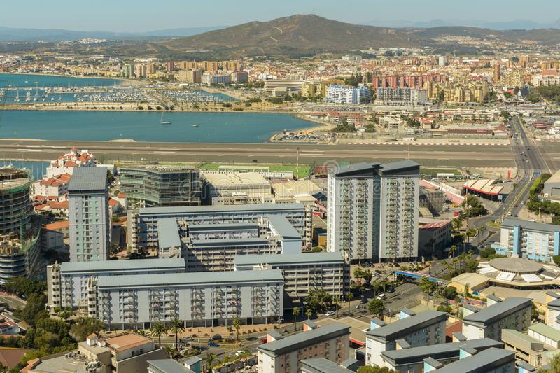 Aerial view of Gibraltar, United Kingdom territory royalty free stock image