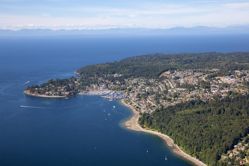 Aerial View of Sunshine Coast. Aerial view of Gibsons during a sunny summer day. Located in Sunshine Coast, Northwest of Vancouver, BC, Canada stock images