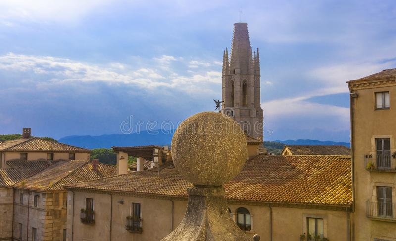 The aerial view of Girona and cathedral in a beautiful summer day, Catalonia, Spain. royalty free stock photography