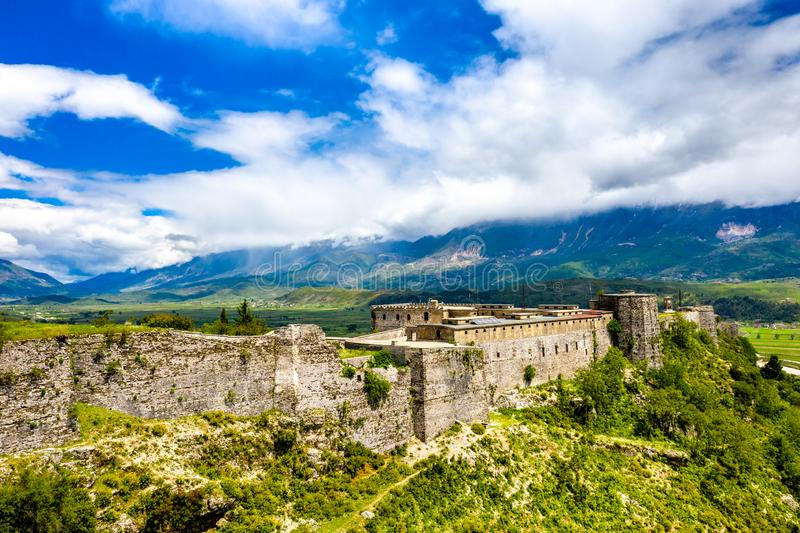 Aerial view of Gjirokaster Fortress in Albania. Aerial view of Gjirokaster Fortress. UNESCO world heritage in Albania stock photo