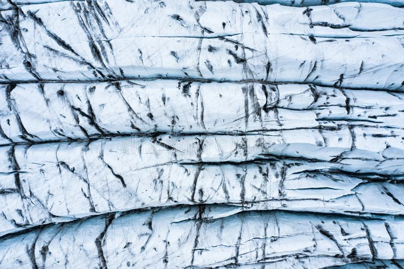 Aerial view of glacier from above, ice texture landscape,Iceland.  stock photography
