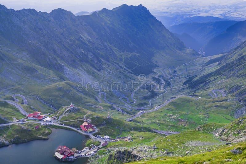 Aerial view of glacier lake Balea and Transfagarasan road royalty free stock images