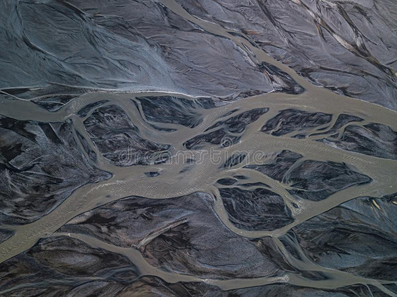 Aerial view of glacier river in Iceland stock image