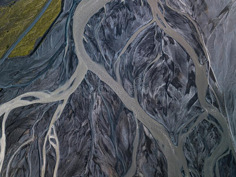 Aerial view of glacier river in Iceland stock photos