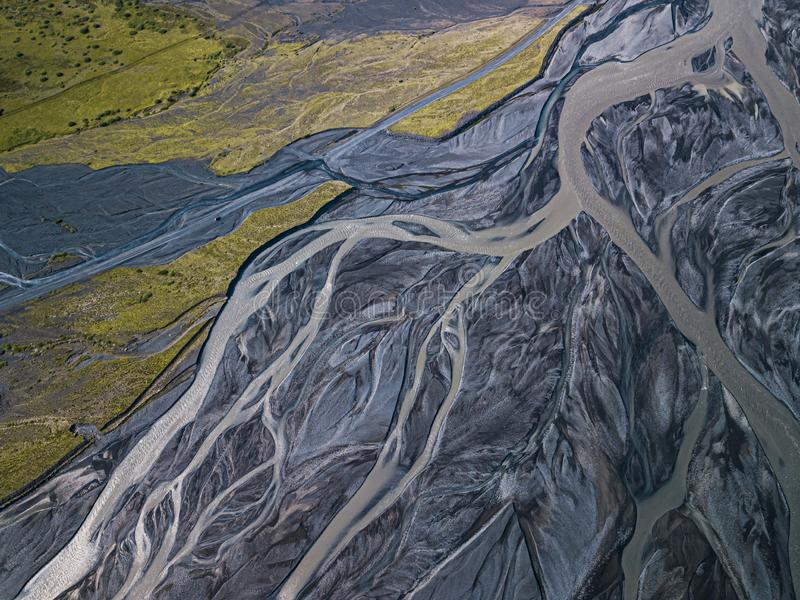 Aerial view of glacier river in Iceland royalty free stock photo