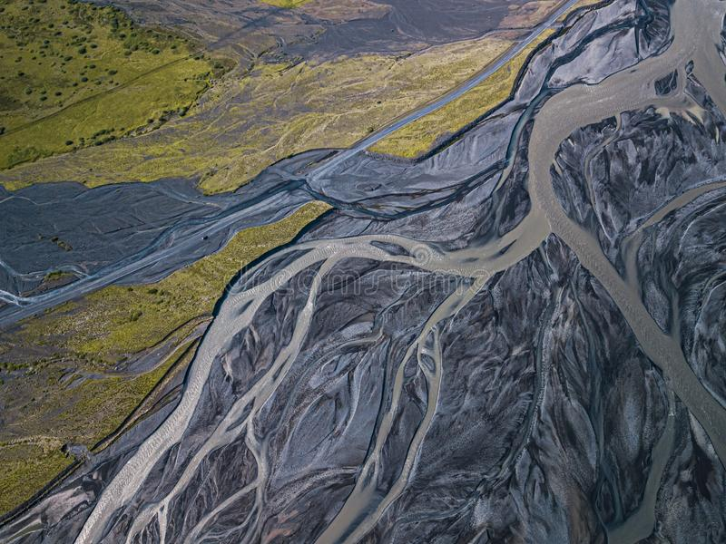 Aerial view of glacier river in Iceland royalty free stock photography
