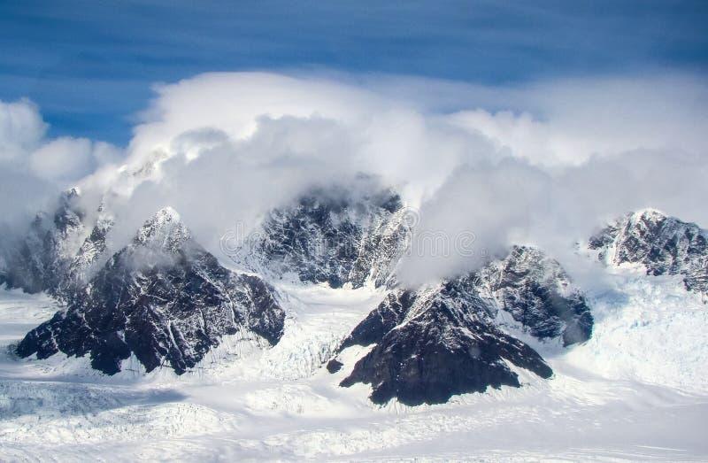 Aerial view of glaciers in the Karakoram mountains range in Pakistan stock photos