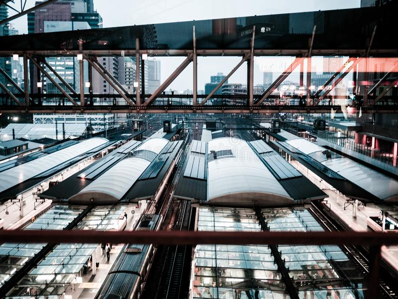 Aerial View of Glass Roof Building With People royalty free stock photos