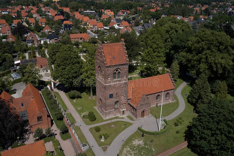 Aerial view of Glostrup church, Denmark. Aerial view of Glostrup church located  the Copenhagen metropolitan area in Denmark royalty free stock photography