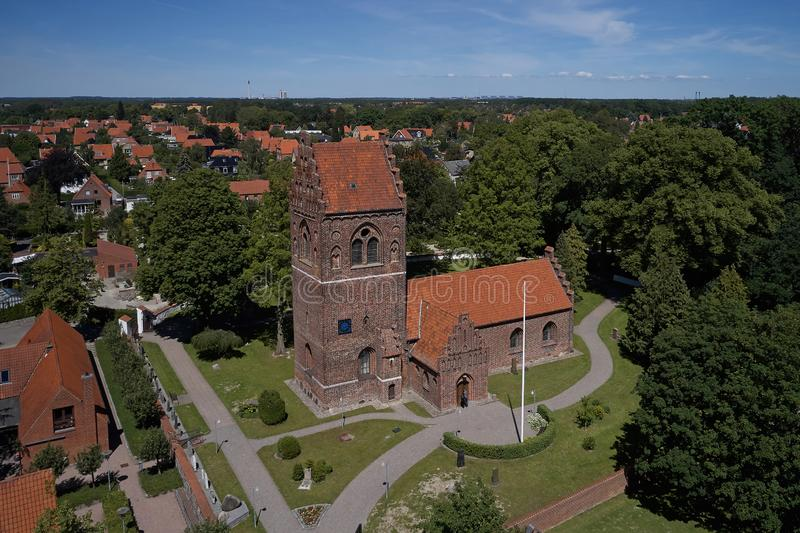 Aerial view of Glostrup church, Denmark. Aerial view of Glostrup church located  the Copenhagen metropolitan area in Denmark stock photography