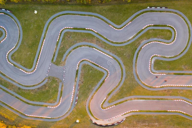 Aerial view of the go-kart track royalty free stock image