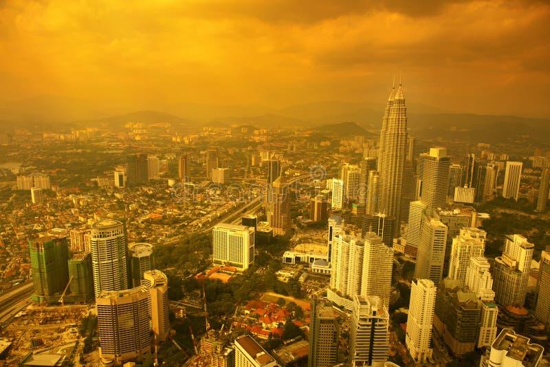 Aerial View Kuala Lumpur city skyline sunset royalty free stock images