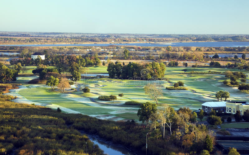 Aerial view of golf course. Late fall morning. Savannah, Georgia royalty free stock images