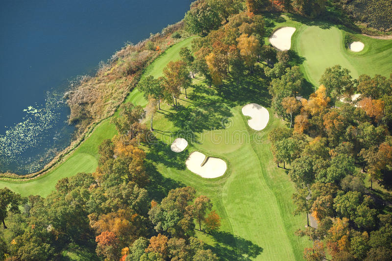 Download Aerial View Of Golf Course In Autumn Stock Image - Image of green, fall: 34528911