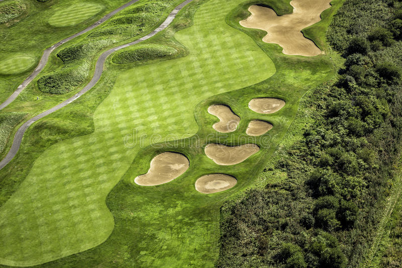 Aerial view of golf course royalty free stock photos