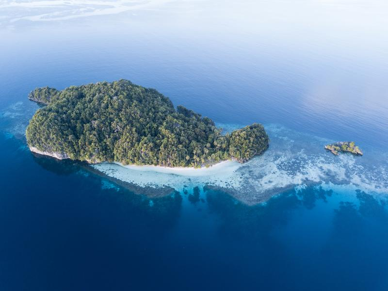 Aerial View of Idyllic Island in Raja Ampat. An aerial view of a gorgeous island and surrounding coral reef in Raja Ampat, Indonesia, shows how beautiful this royalty free stock photo