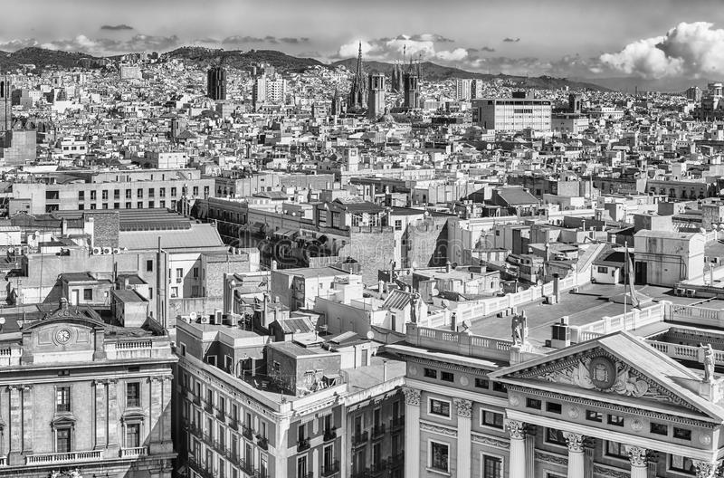 Aerial view of the Gothic Quarter, Barcelona, Catalonia, Spain. Scenic aerial view of the Gothic Quarter from the top of Columbus Monument, Barcelona, Catalonia royalty free stock photo