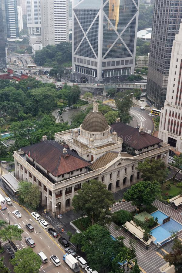 Aerial view, Government House, Hongkong stock photo