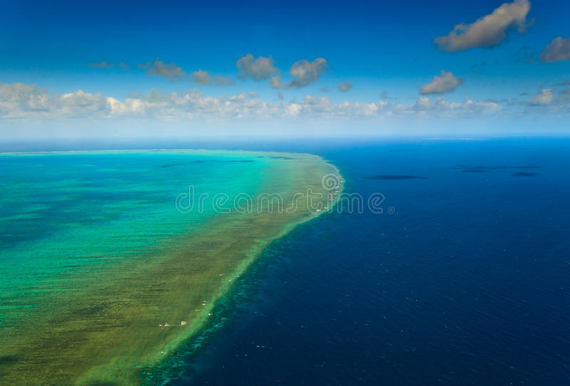 Aerial view of Great Barrier Reef Australia stock photography