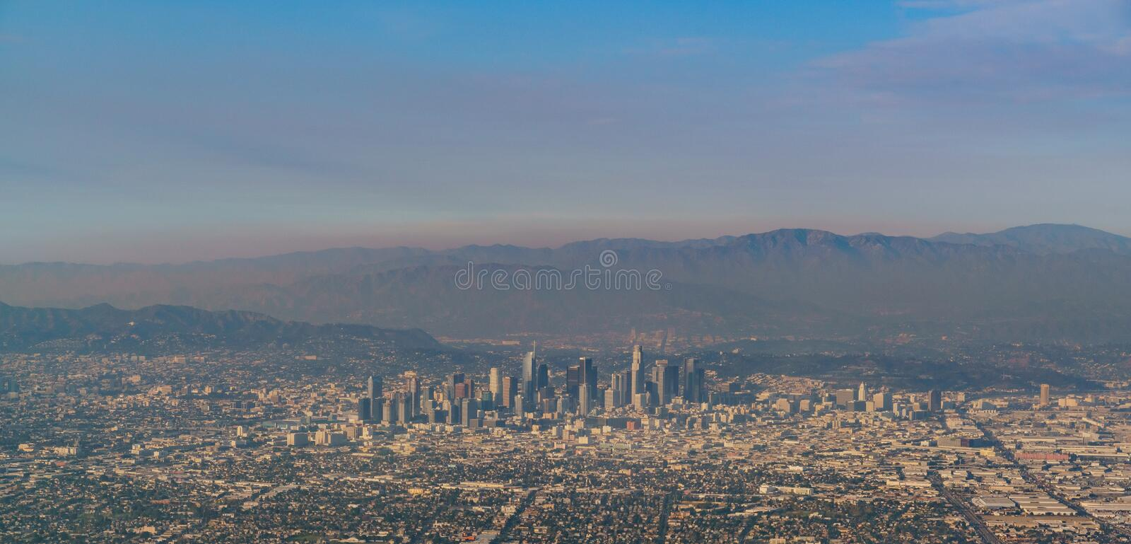 Aerial view of great Los Angeles area. California royalty free stock photos