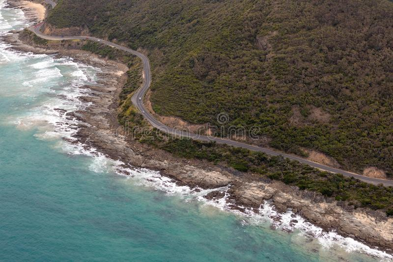 Aerial view of Great Ocean Road, Victoria, Australia. Aerial photography of Great Ocean Road, Victoria, Australia royalty free stock image