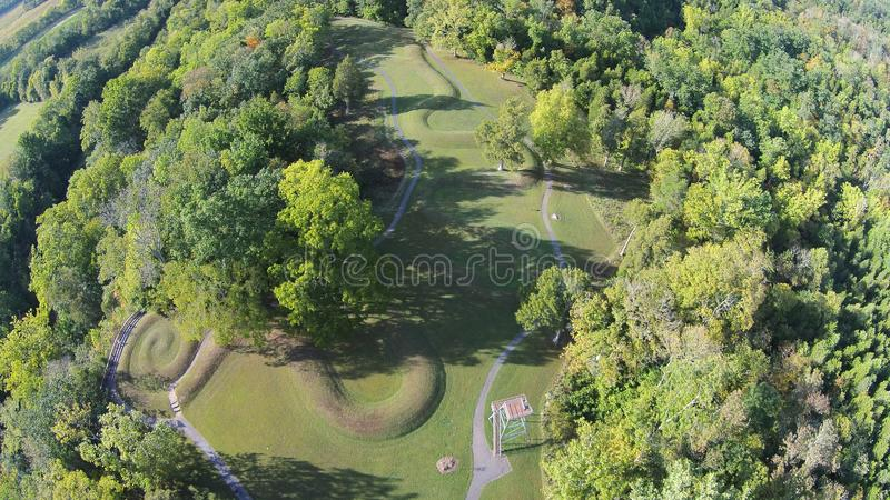 Aerial View of the Great Serpent Mound of Ohio. This is the spiral tail at the end of the great Serpent Mound of Ohio, United States. This Mound was built by the stock images