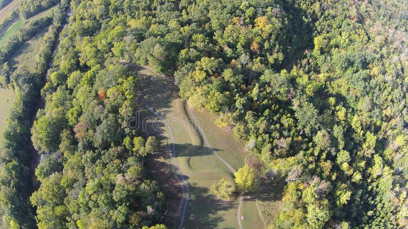 Aerial View of the great Serpent Mound, Ohio. This is the aerial view of the great Serpent Mound of Ohio, United States. This Mound was built by the Fort Ancient stock image