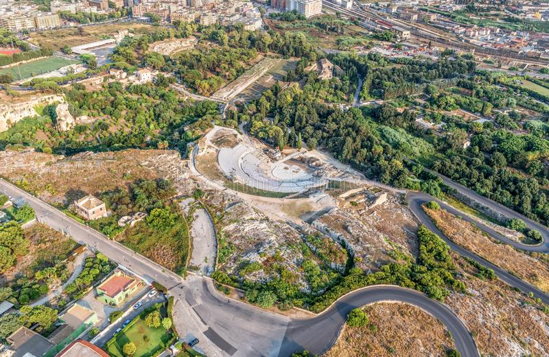 The Greek theater of Syracuse and Archaeological Park of Neapolis stock image