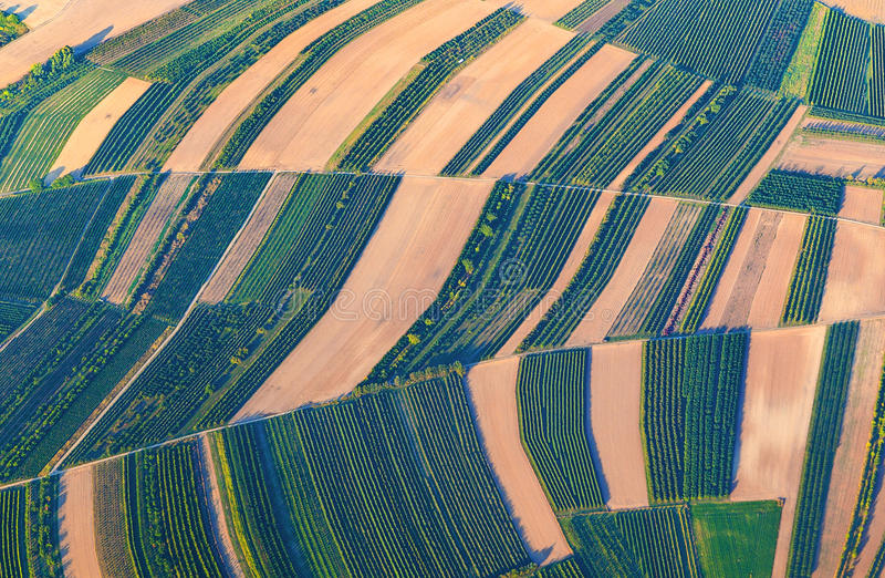 Aerial view of green fields and slopes stock images