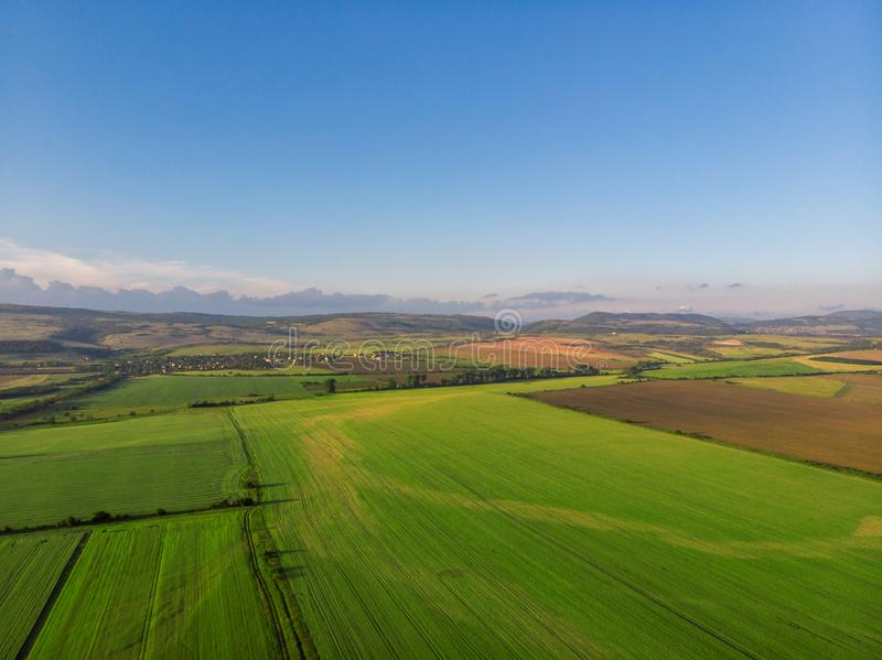 Top view aerial photo of settlements and fields stock photography