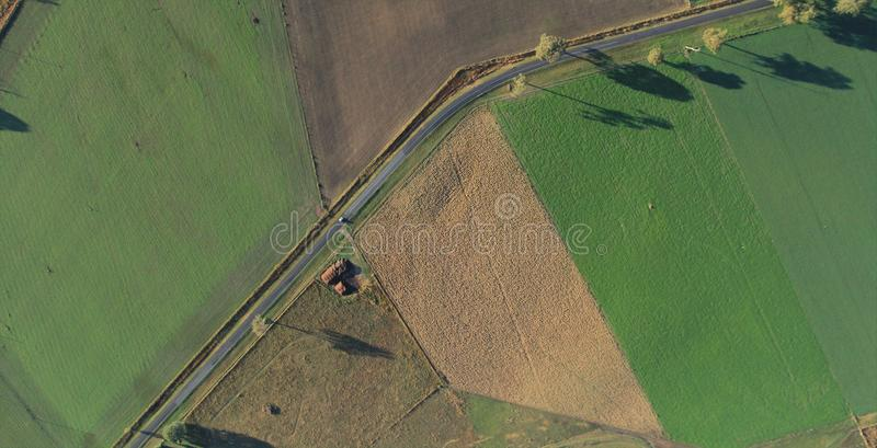 Aerial view of Green grass landscape stock photo