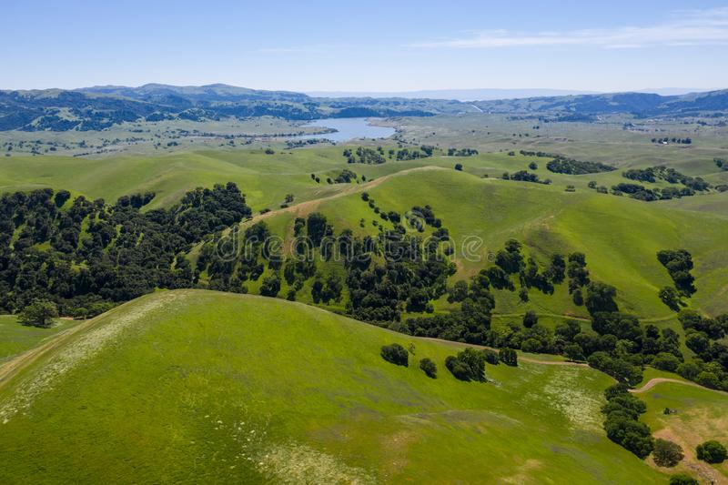 Aerial View of Green Hills in Tri-Valley, Northern California royalty free stock image