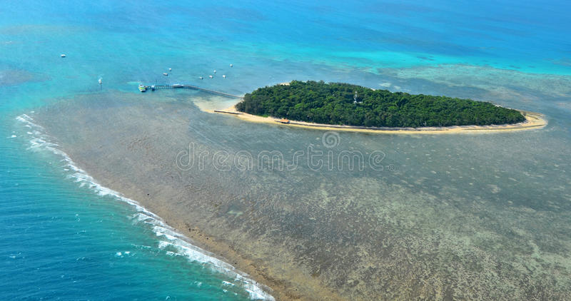 Aerial view of Green Island reef at the Great Barrier Reef Queen. Aerial view of Green Island reef at the Great Barrier Reef near Cairns in Tropical North royalty free stock photography