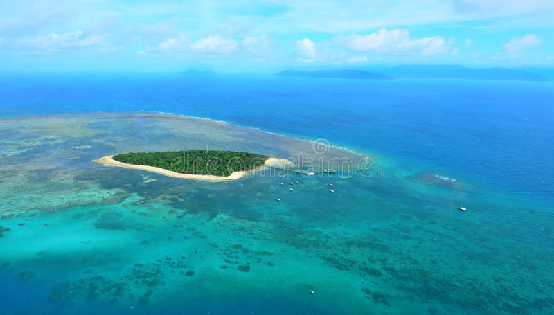 Aerial view of Green Island reef at the Great Barrier Reef Queen. Aerial view of Green Island reef at the Great Barrier Reef near Cairns in Tropical North royalty free stock images