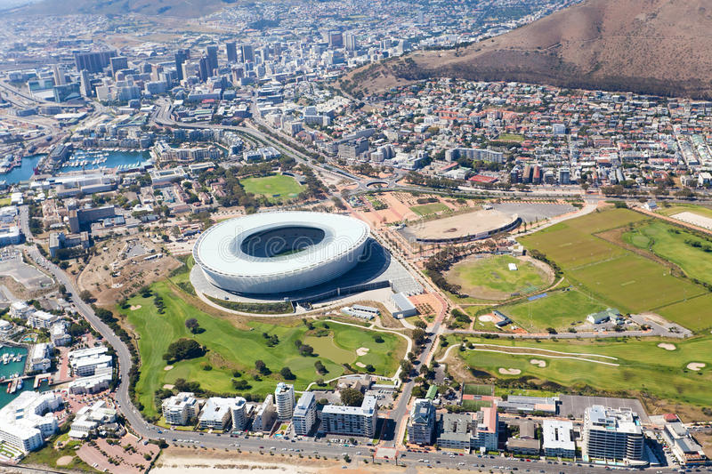 Aerial view of green point stadium stock photography