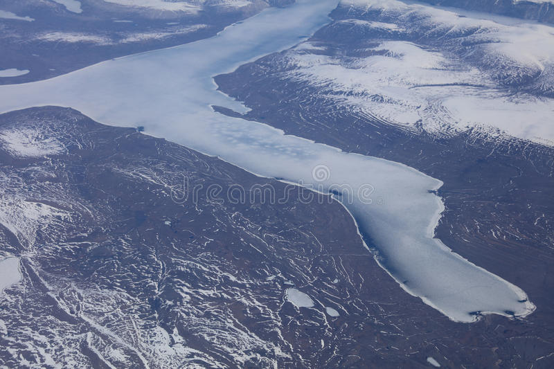 Aerial View of Greenland Glaciers. And Icebergs royalty free stock photo