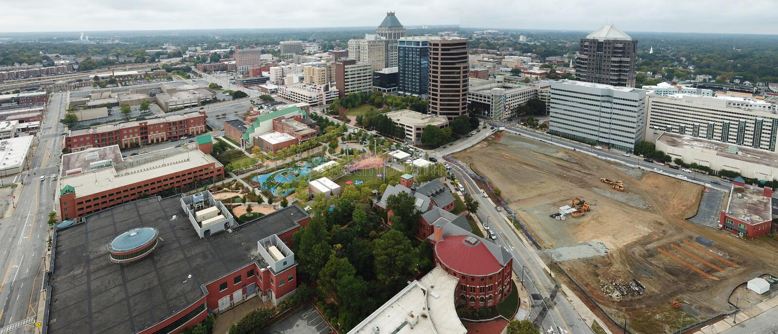 Aerial view of Greensboro stock photography