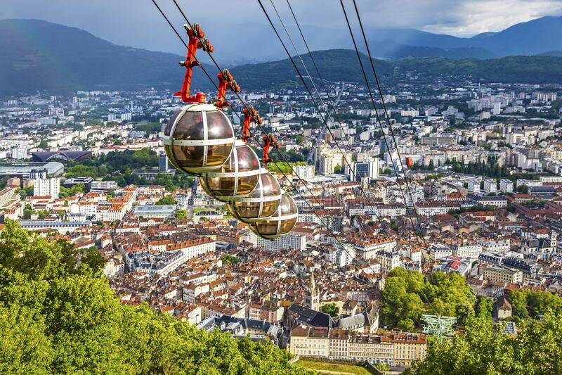 Aerial view of Grenoble city, France royalty free stock photography