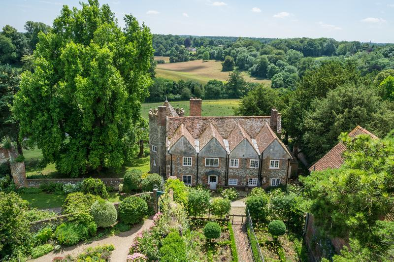 Aerial view of Greys Court, England royalty free stock photos
