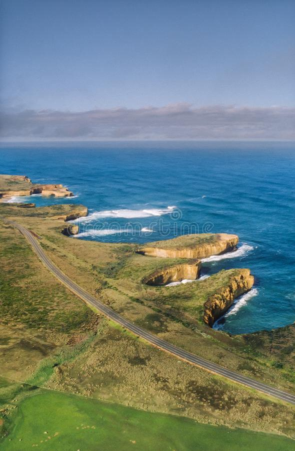 Aerial view of the The Grotto with London Bridge in the distance, Great Ocean Road, Australia royalty free stock image