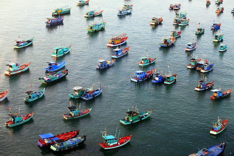 Aerial view of a group of boats at sea in Vietnam royalty free stock image