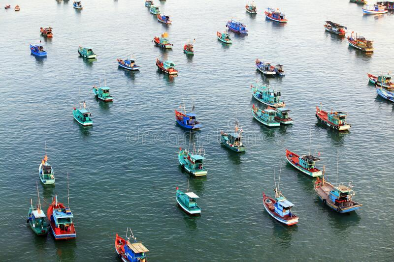 Aerial view of a group of boats at sea in Vietnam stock photo