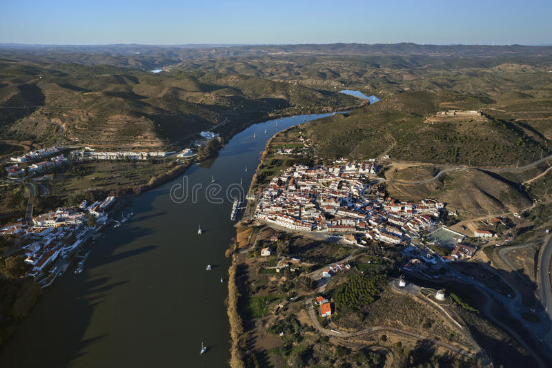 Aerial view of the Guadiana river stock images