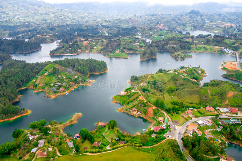 Aerial view of Guatape in Antioquia, Colombia stock photography