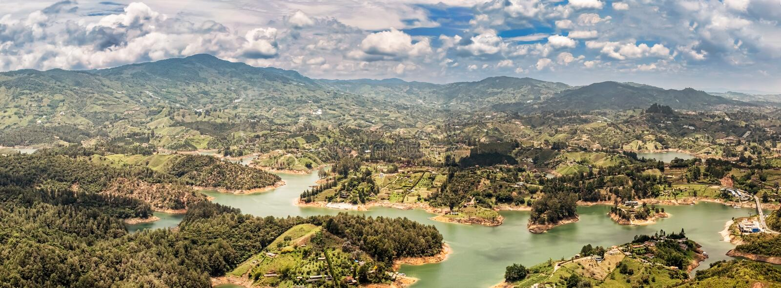 Aerial view of Guatape, Penol, dam lake in Colombia. Aerial view of Guatape, Penol, dam lake in Colombia as seen from the viewpoint at the top of The rock El stock photo