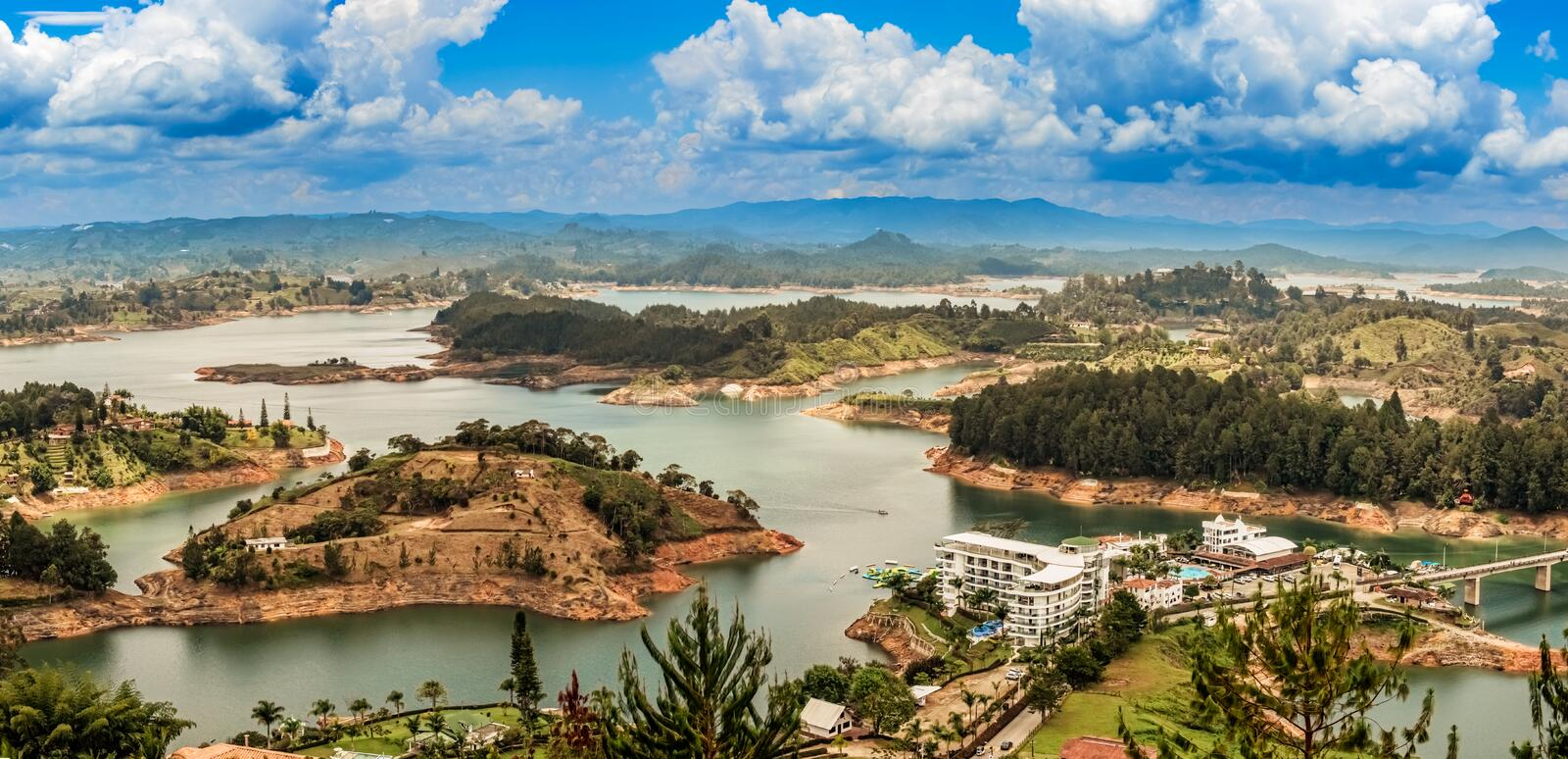 Aerial view of Guatape, Penol, dam lake in Colombia. Aerial view of Guatape, Penol, dam lake in Colombia as seen from the viewpoint at the top of The rock El royalty free stock images